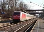 donaueschingen/178458/101-030-5-als-ic-2270-von 101 030-5 als IC 2270 von Konstanz nach Stralsund bei der Einfahrt in den Donaueschinger Bahnhof aufgenommen am 13.01.2012